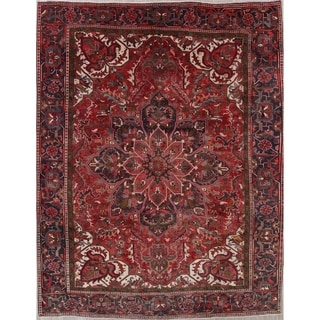 """Vintage Oriental Heriz Hand Knotted Persian Traditional Wool Area Rug - 12'4"""" x 9'8"""""""