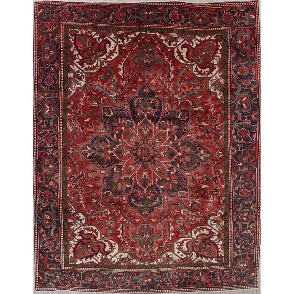 "Vintage Oriental Heriz Hand Knotted Persian Traditional Wool Area Rug - 12'4"" x 9'8"""