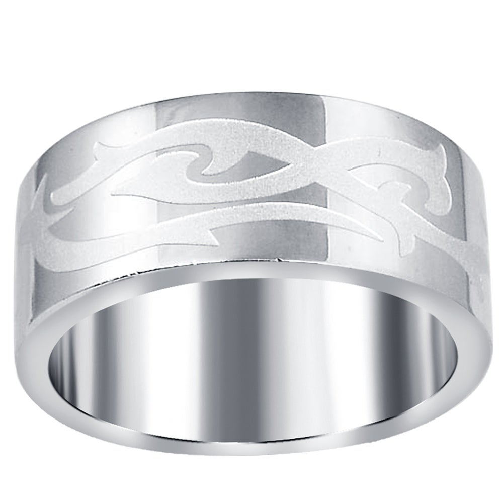 Mens Stainless Steel Textured Ring