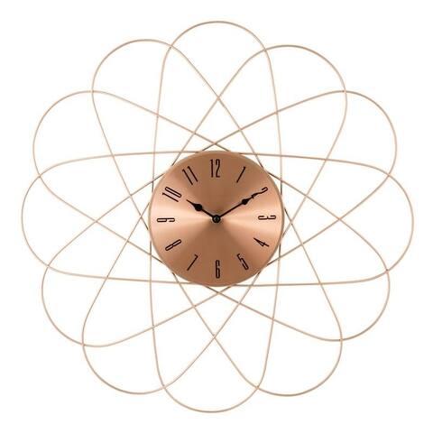 """La Crosse Clock 83247-BHG 24"""" Mid-Century Orbit Copper Metal Quartz Clock"""