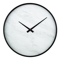 "La Crosse Clock 83216-BHG 14"" Modern Faux Marble Metal framed Quartz clock"