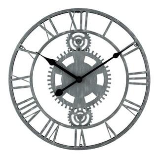 "La Crosse Clock 83186-BHG 14"" Gray Industrial Gears Metal Quartz clock"