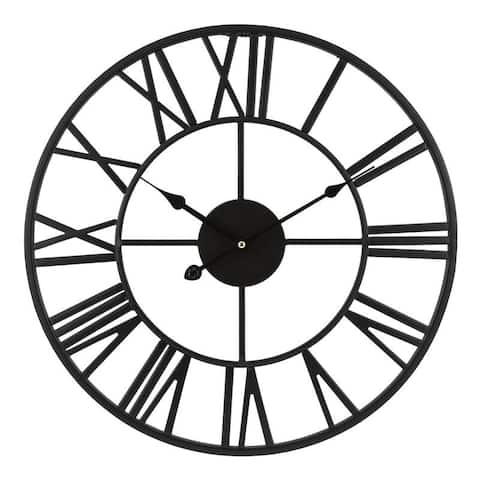 "La Crosse Clock 83193-BHG 18"" Black Metal Skeleton Vintage Quartz clock"