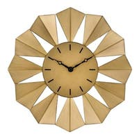 "La Crosse Clock 83230-BHG 12.8"" Gold Metal Sunray Quartz Wall Clock"