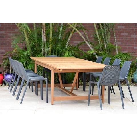 Coralis Rectangular 11-piece Patio Dining Set with grey chairs by Amazonia