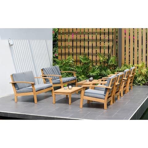 Havenside Home Wood Teak Finish Conversation Living Room Set