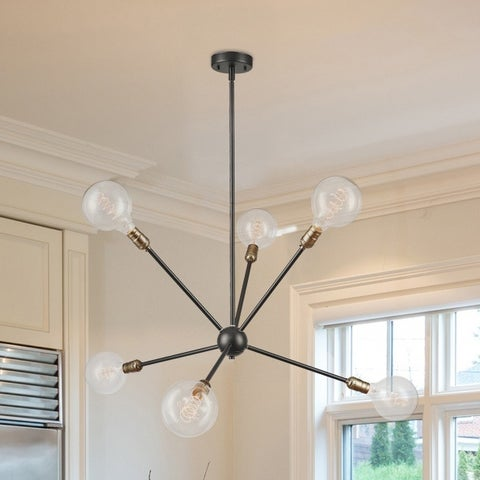 Axel 6-Light Matte Black Chandelier with Antique Brass Sockets