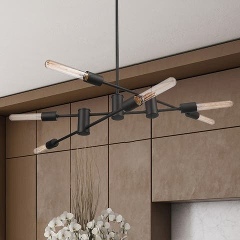 Carbon Loft Baptiste 6-light Dark Bronze Chandelier with Bulbs