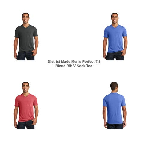 District Made Men's Perfect Tri Blend Rib Knit V Neck Tee