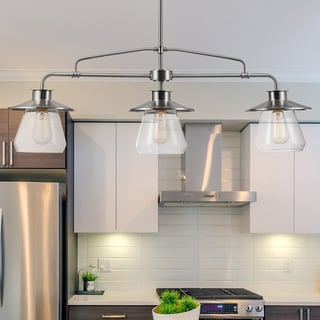 Link to Porch & Den Walquin 3-light Brushed Nickel Linear Chandelier with Glass Shades - 37.2 Similar Items in Chandeliers