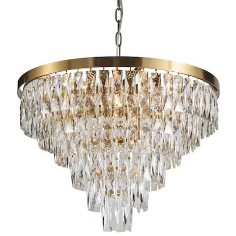 Six Tiers Gold Metal Chandelier With Clear Crystal Accents