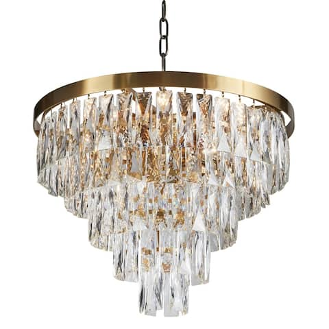 Five Tiers Gold Metal Chandelier With Clear Crystal Accents