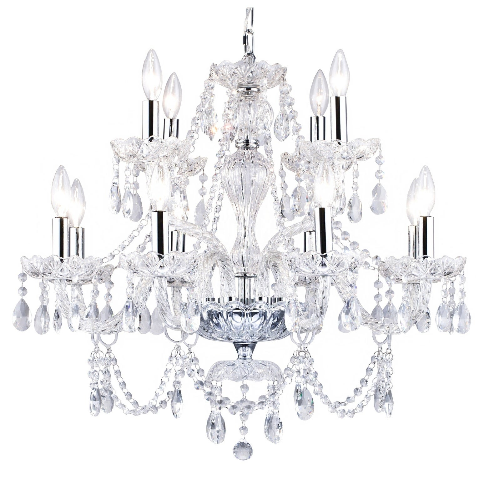 Two Tiers Chrome Metal Chandelier With Crystal Accents