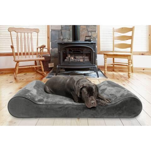FurHaven Pet Bed Memory Foam Minky Plush & Velvet Luxe Lounger Dog Bed