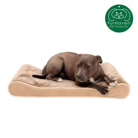 FurHaven Pet Bed Cooling Gel Minky Plush & Velvet Luxe Lounger Dog Bed