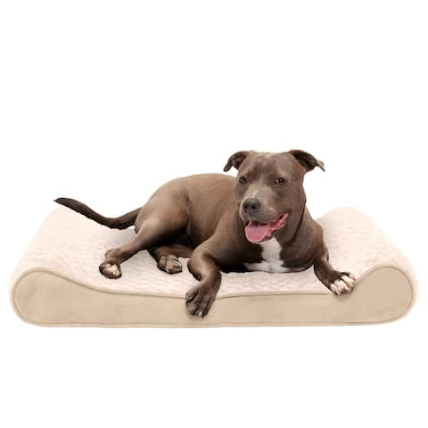 FurHaven Pet Bed Cooling Gel Ultra Plush Luxe Lounger Dog Bed