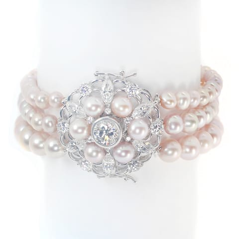 Michael Valitutti Sterling Silver Freshwater Peachy Lavender Pearl & Cubic Zirconia Bracelet