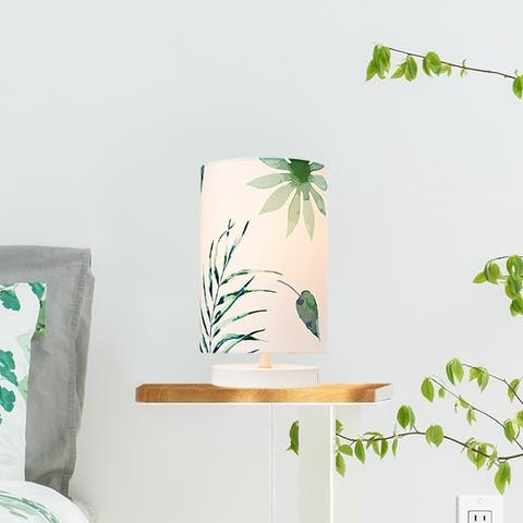 Porch & Den Christensen Palm Leaves 10-inch Table Lamp Fabric Shade