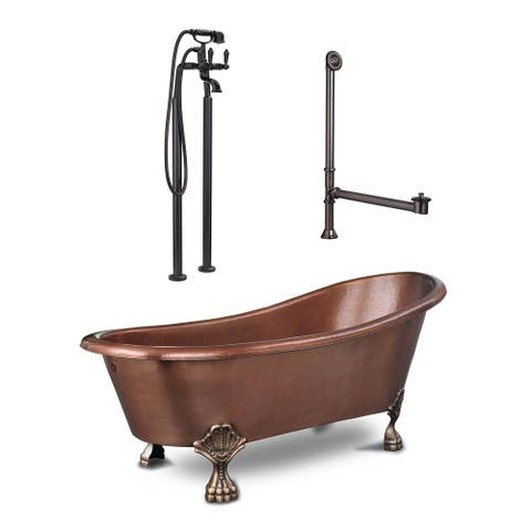 Heisenberg 5.5 ft All-in-One Solid Copper Freestanding Claw Foot Bathtub Kit with Faucet and Drain in Antique Copper