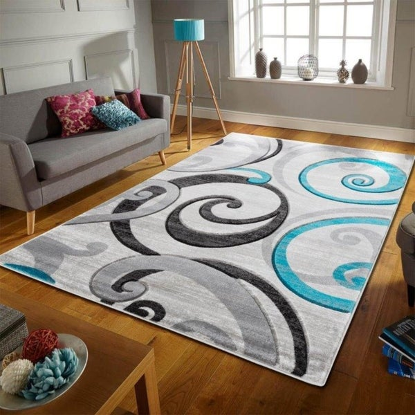 Shop Swirls Contemporary Modern Living Room Bedroom Soft Area Rug ...