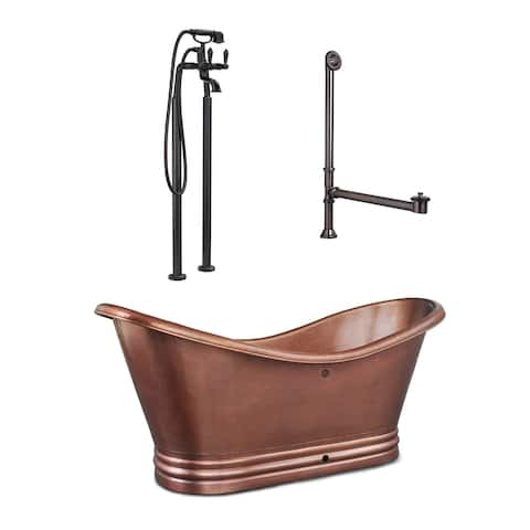 Euclid 6 ft. All-in-One Solid Copper Freestanding Bathtub Kit with Pfister Faucet and Drain and Overflow in Antique Copper