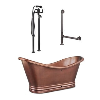 Link to Euclid 6 ft. All-in-One Solid Copper Freestanding Bathtub Kit with Pfister Faucet and Drain and Overflow in Antique Copper Similar Items in Bathtubs