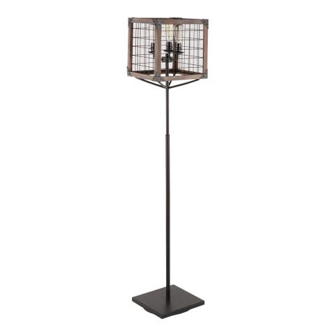 The Gray Barn Marsh Bend Industrial Floor Lamp with Wooden Wire Crate Shade