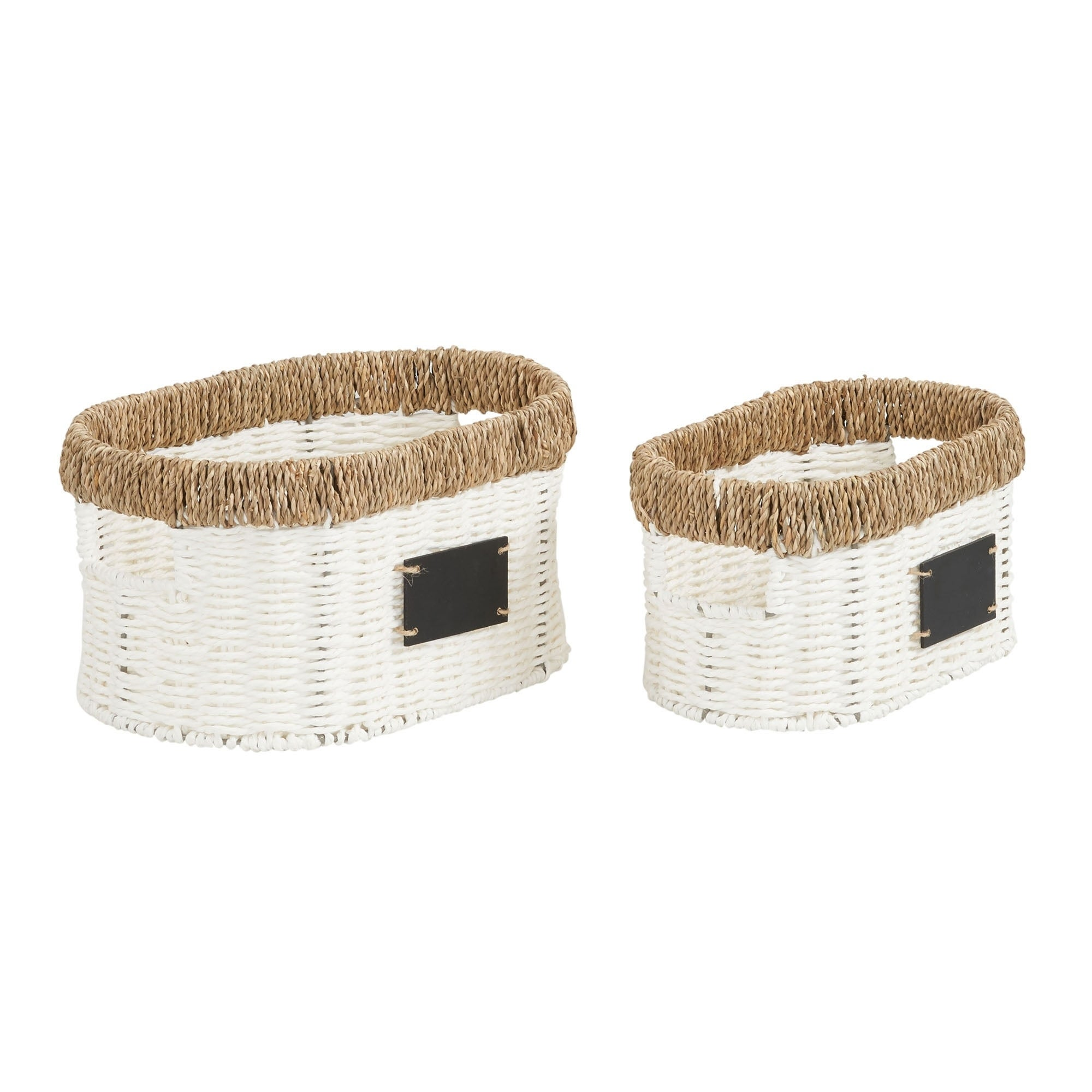 Household Essentials Natural Rim Oval Set Paper Rope And Seagrass 2 Piece Small Wicker Basket White Overstock 28153854