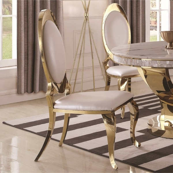 Shop Luxurious Modern Design Stainless Steel Dining Set: Shop Luxurious Modern Design Gold And White Upholstery