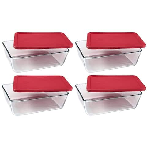 PYREX Simply Store 6-cup Rectangular Glass Food Storage Containers with Red Plastic Covers (Pack of 4 Containers)