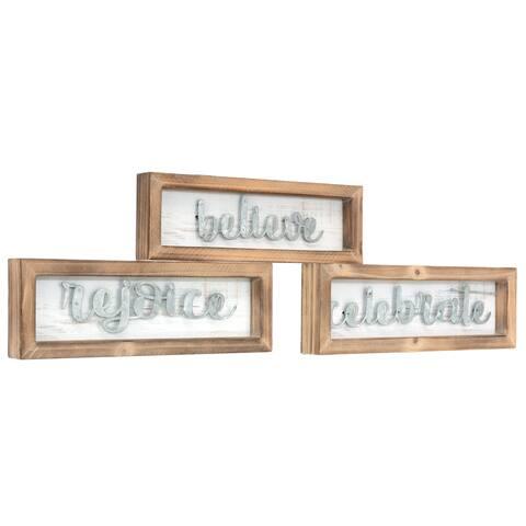 kieragrace KG Hemlock Wood Wall Art - Set of 3 - Believe - Celebrate - Rejoice