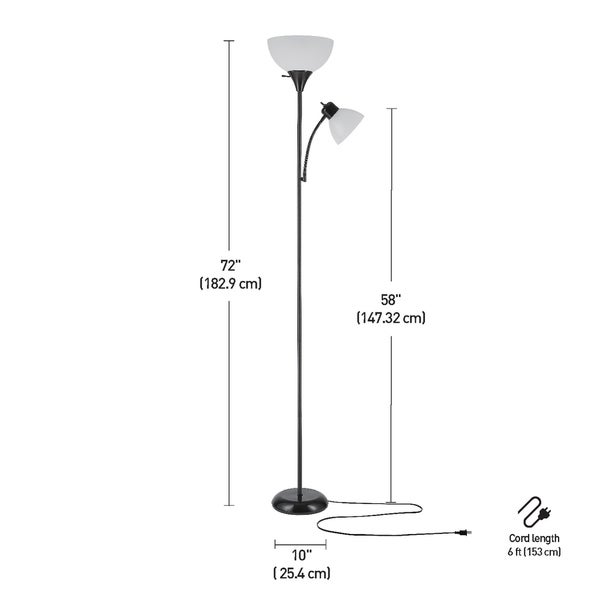 Porch & Den Caxton 72-inch Torchiere Floor Lamp with Adjustable Reading Light