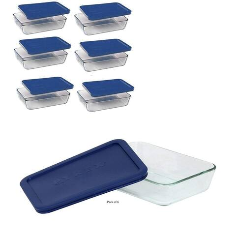 Pyrex 3-Cup Storage Plus Rectangular Dishes With Blue Plastic Covers (Pack of 6 Containers)