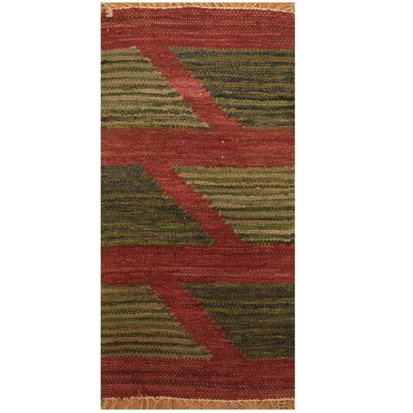 Handmade One-of-a-Kind Wool Kilim (India) - 1'9 x 3'5