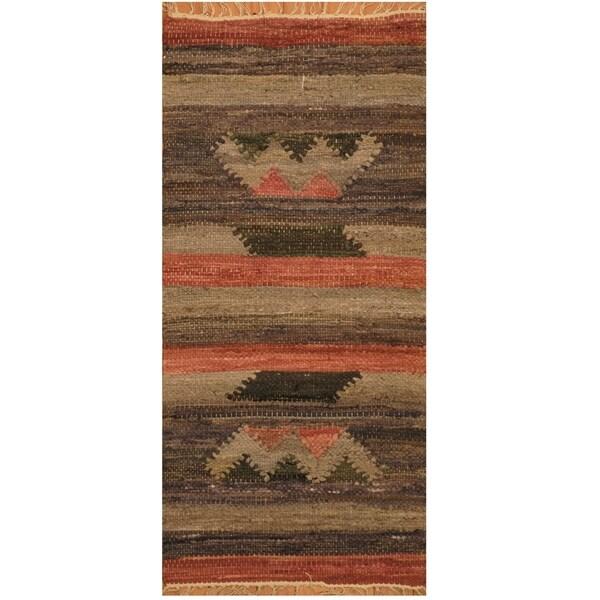Handmade One-of-a-Kind Wool Kilim (India) - 1'8 x 3'8