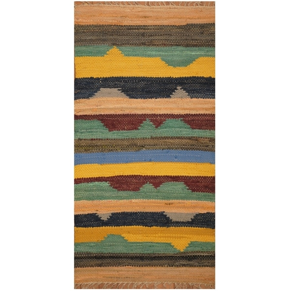Handmade One-of-a-Kind Wool Kilim (India) - 2'1 x 4'