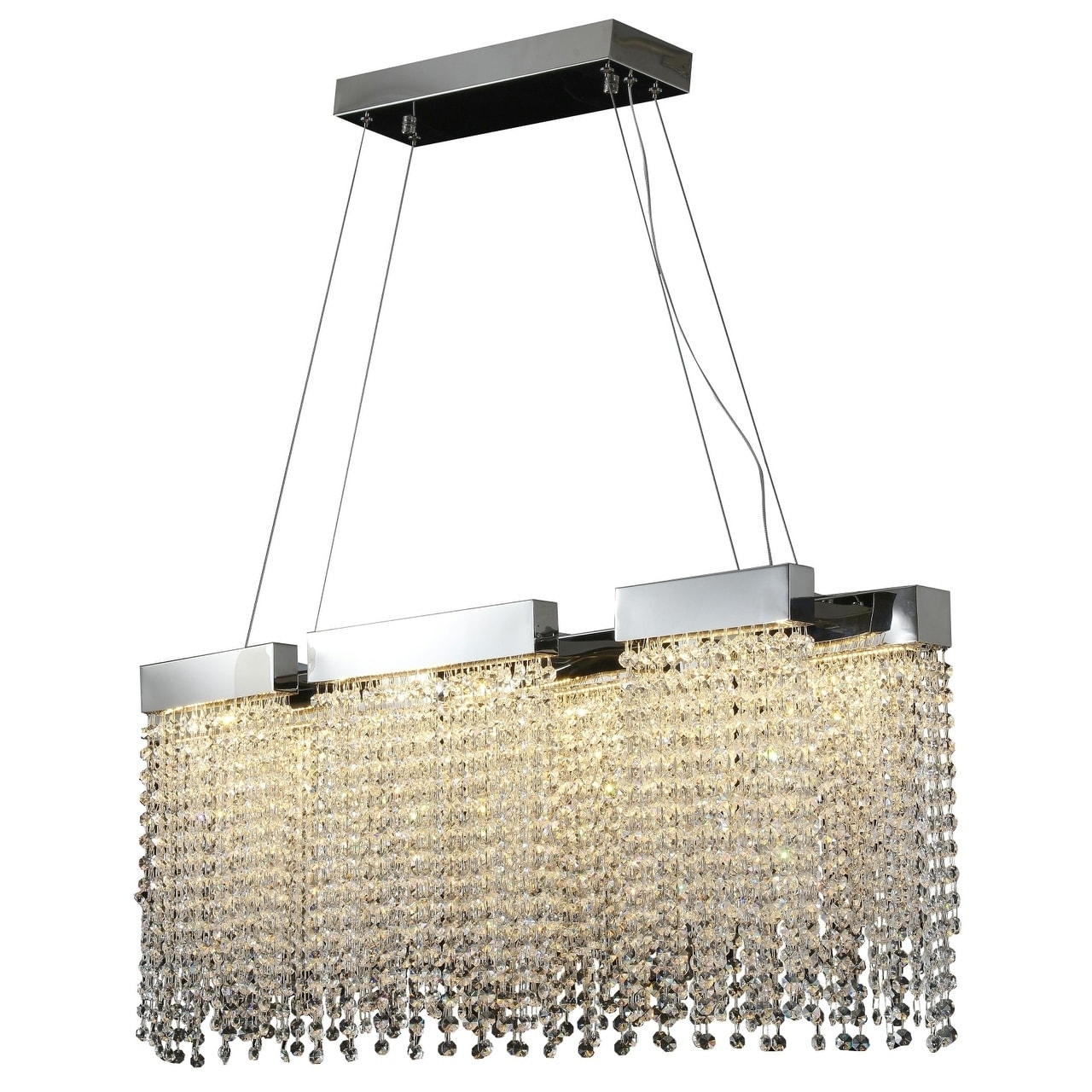 Chrome Metal LED Lighting With Crystal Accents