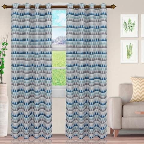 Modern Jacquard Sand Semi-Sheer Window Curtain Panels by Miranda Haus