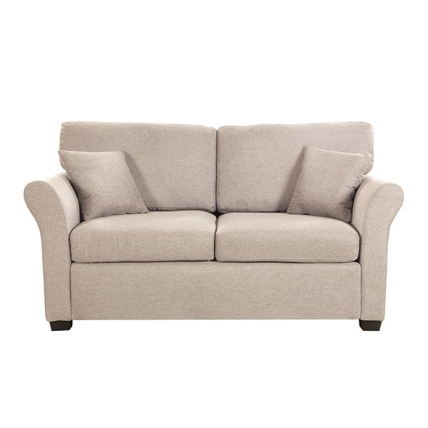 Classic Linen Fabric Loveseat Sofa with 2 Accent Pillows. Opens flyout.