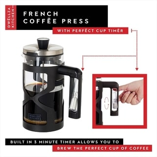French Press Coffee Maker - Built In Handle Timer 34 Oz.