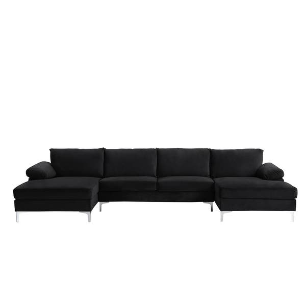 Shop Modern XL Sectional Sofa U-Shape, Velvet Upholstery ...