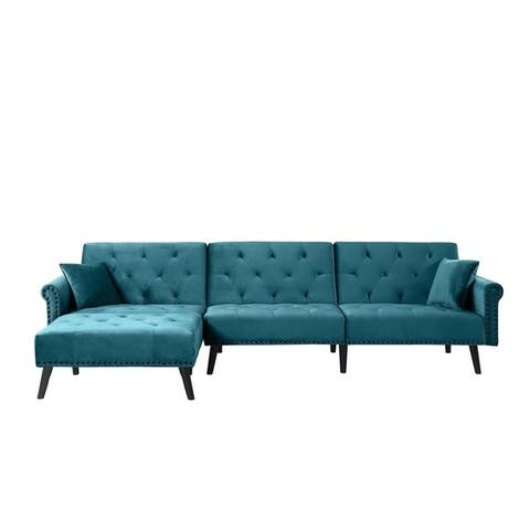 Vintage Style Sectional Futon Sofa with Nailhead Accents