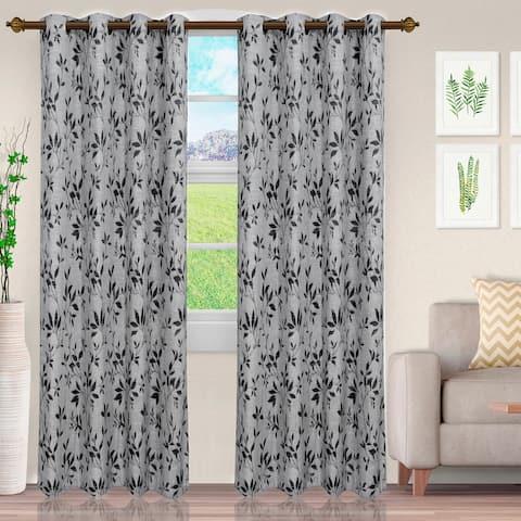 Miranda Haus Comera Jacquard Grommet Curtain Panel (Set of 2)