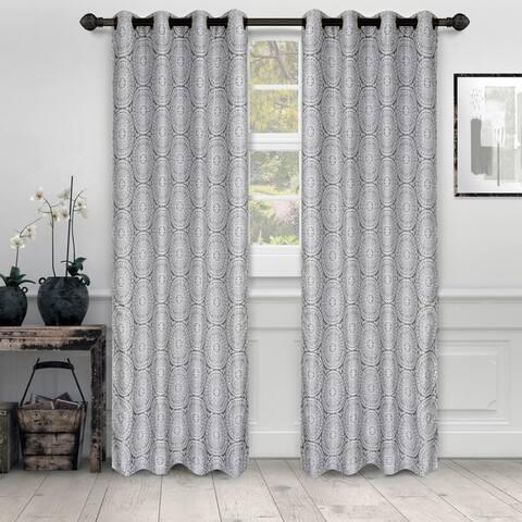 Miranda Haus Varnie Jacquard Grommet Curtain Panel (Set of 2)