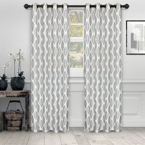 Miranda Haus Labrea Damask Jacquard Grommet Curtain Panel (Set of 2)