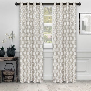 "Link to Miranda Haus Labrea Damask Jacquard Grommet Curtain Panel in Gold - 52"" x 84"" - (Set of 2) (As Is Item) Similar Items in As Is"