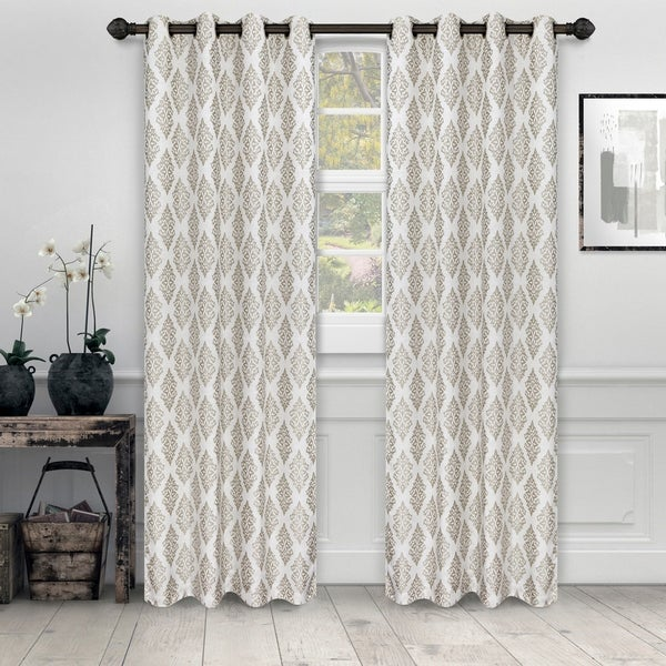 Miranda Haus Labrea Damask Jacquard Grommet Curtain Panel (Set of 2). Opens flyout.