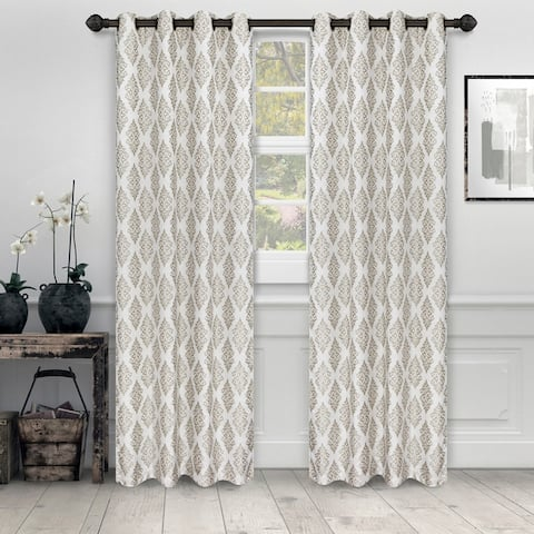 Miranda Haus Labrea Damask Jacquard Grommet Curtain Panel (Set of 2)