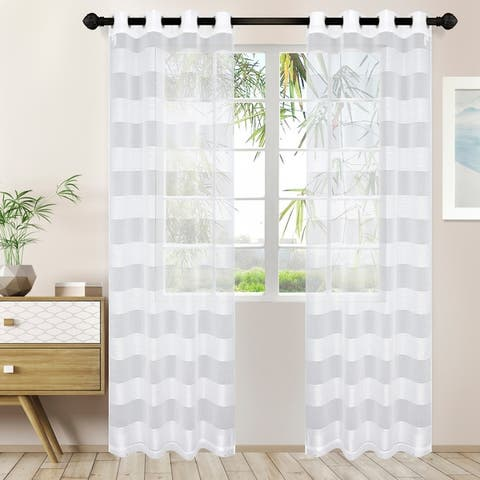 Miranda Haus Alzane Rope Sheer Grommet Curtain Panel (Set of 2)