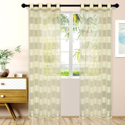 Miranda Haus Alzane Rope Sheer Grommet Curtain Panel (Set of 2)